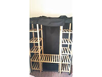 black double canvas wardrobe with clothes rail and shelves and basket