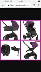 Joie boy or girl travel system including carry cot car seat isofix base and two rain hoods