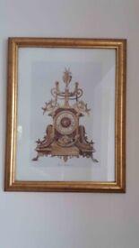 *** Pair of Golden Emboss Framed Pictures - Clocks - Pendules ***