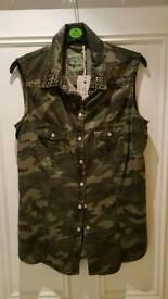NEW camouflage sleeveless vest w/ studded collar. Size 12