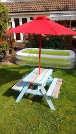 Children's garden bench with parasol