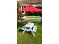 Children's garden bench with parasol