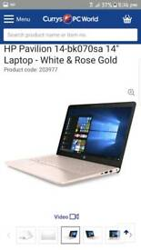 HP Rose Gold and White i3 processor