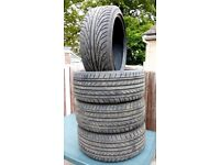 4x Low profile Tyres, 245/40 for 19inch wheel, from Jaguar XF, nearly new, done only 4000 miles