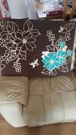 Brown and teal canvas