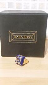 Kara Ross Lapis Base And Blue Topaz Medium Cava Ring With Diamond Accents Boxed