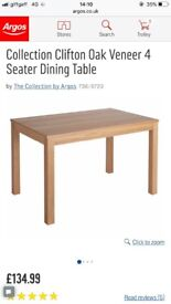 Collection Clifton Oak Veneer 4 Seater Dining Table