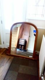 Over mantel mirror-Antique pine
