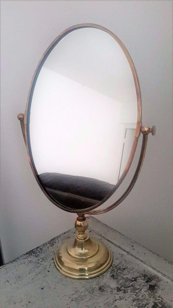 Antique Solid Brass Vanity Mirror Rage England 47cm High