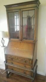 Vintage Oak bureau and bookcase