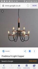 9 light copper chandelier