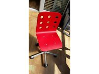 Childs desk chair - wooden backed - red colour - adjustable height (from Ikea)