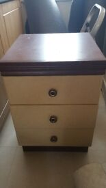 2 wooden bedside cabinets 3 drawers