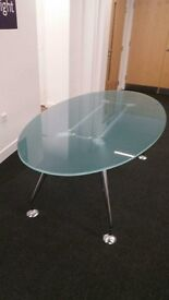 Excellent Condition, Oval Glass Dining Table