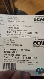 2 X Bruno Mars Standing tickets (City side Floor level) Saturday 15th LIVERPOOL