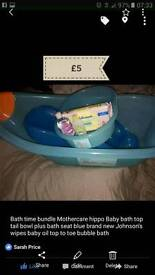 Mothercare hippo Baby bath top tail bowl gift plus more