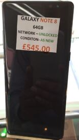 GALAXY NOTE 8 64GB UNLOCKED CONDITION AS NEW