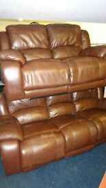 brown 2 seater and 3 seater leather recliner sofas