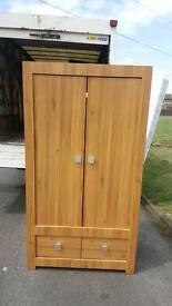 Soild oak wardrobe with chrome handles
