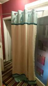 Green and cream lined curtains 60x90