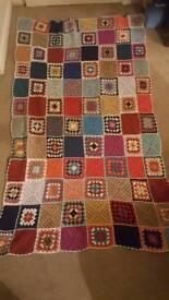 Vintage 1970's hand crocheted blanket