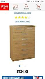 Hallingford 8 drawer chest oak effect