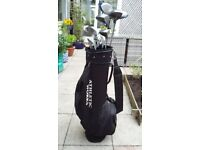Golf bag and left handed clubs