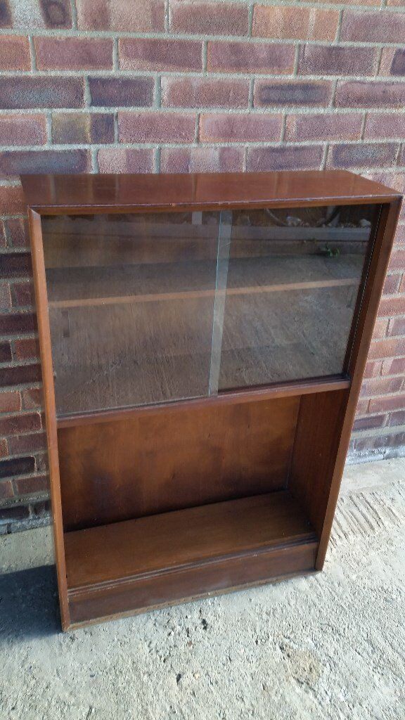 MAHOGANY GLASS FRONTED BOOKCASE
