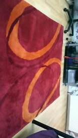 Almost New v modern stylish big beautiful vv thick red and orange thick pile rug