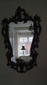 Black baroque style mirror