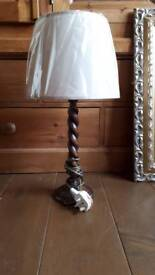 Sanderson wooden lamp with brand new gold silk shade