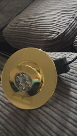 A box of 11 brass coloured downlights - ip66 - dimmable