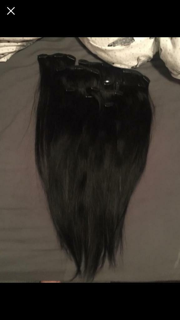 22 Inch Human Hair Extensions Full Head Black Clip In In Middleton