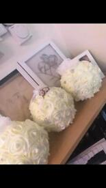 Hand made flower pomanders and pew ends