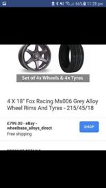 5X108 FOX MS006 black chrome lip alloys with tyres