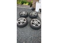 "Subaru Impreza WRX 17"" Alloy Wheels and Tyres, 5x100, 215/45, £250 or offers"