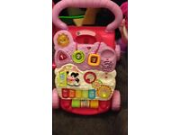 Disney Minnie Mouse bouncer, Fisher Price Smart Chair, Vtech Walker, Lamaze Tummy Time Play Mat