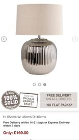 Brand new silver lamp - Unused, boxed and worth £169