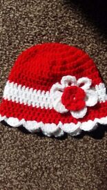 Baby handmade crochet hat with flower detail 6 month old new made