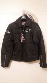 Black leather alpinestar hero jacket size, brand new