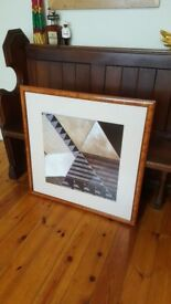 Barker and Stonehouse pair of matching abstract paintings in burr walnut frames