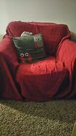 Cherry red armchair cover (large)