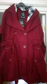 New with Tags. Ladies Sz 24 hooded belted fleece jacket (Wine Colour)