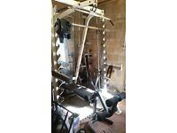 half gun rack multi gym Olympic bar & 240 kg weights. bench press, smiths machine,