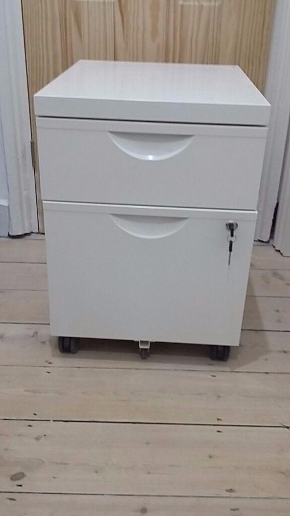 Ikea Erik Filing Cabinet White Metal 2 Drawers One For
