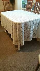 cream machine made lace table cloth