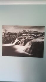 Black and white canvas picture of waterfall