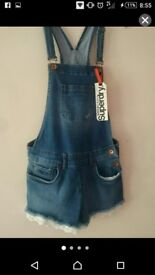 Suoerdry Frilly Dungaree Shorts Brand New Size Small