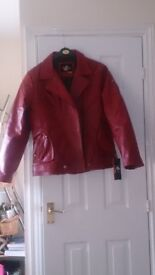 Red leather Biker Jacket XL