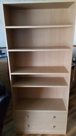 Beech coloured lockable desk and 2 drawer bookcase